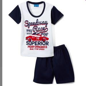 "Boys White & Navy ""Speedway Race"" Tee & Shorts"
